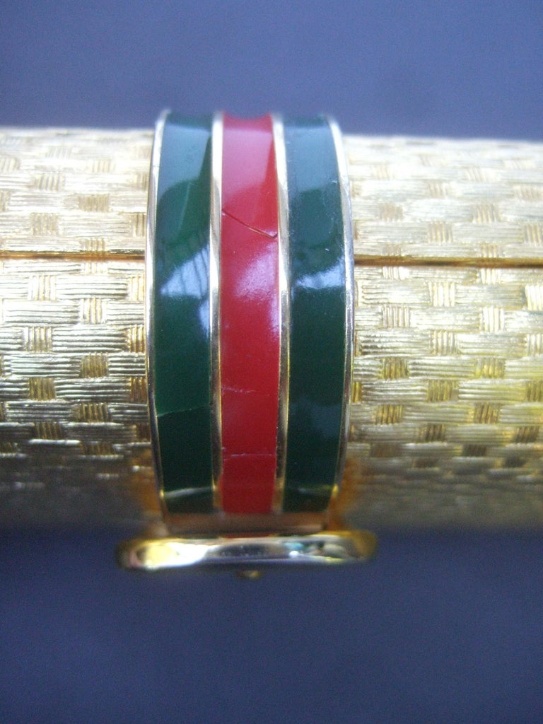 Gucci Italy Rare Gilt Metal Minaudière Clutch Bag c 1970s For Sale 15