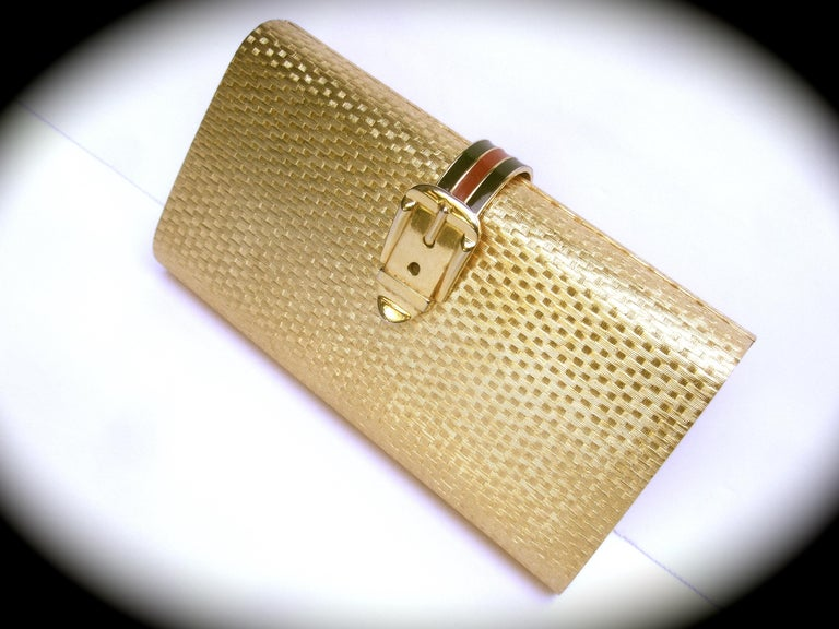 Beige Gucci Italy Rare Gilt Metal Minaudière Clutch Bag c 1970s For Sale