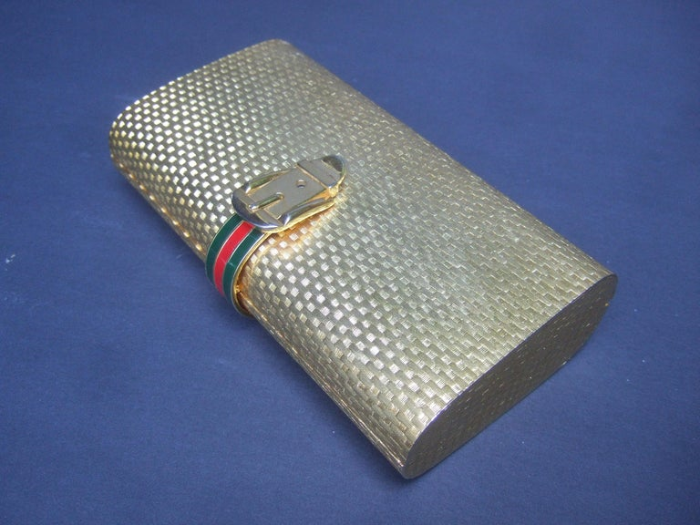 Gucci Italy Rare Gilt Metal Minaudière Clutch Bag c 1970s In Good Condition For Sale In Santa Barbara, CA