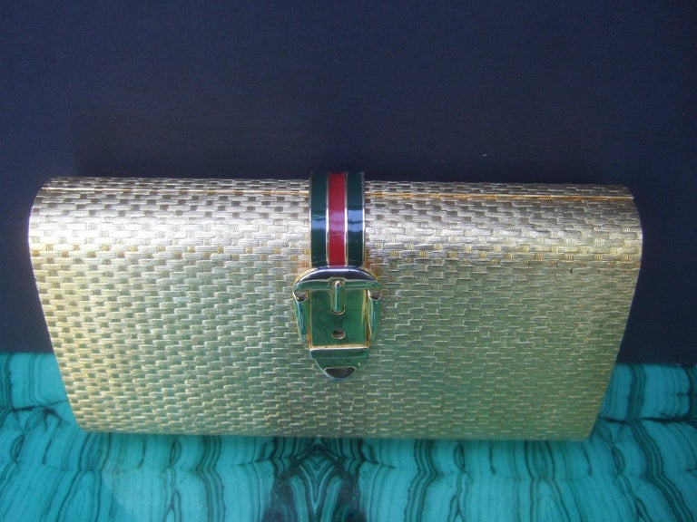 Women's Gucci Italy Rare Gilt Metal Minaudière Clutch Bag c 1970s For Sale