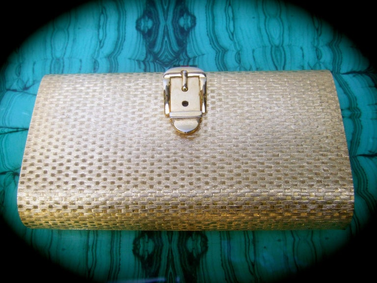 Gucci Italy Rare Gilt Metal Minaudière Clutch Bag c 1970s For Sale 1