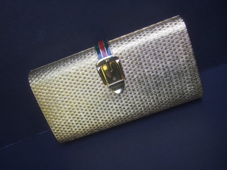 Gucci Italy Rare Gilt Metal Minaudière Clutch Bag c 1970s For Sale 4