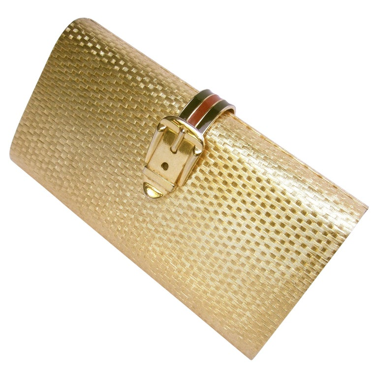 Gucci Italy Rare Gilt Metal Minaudière Clutch Bag c 1970s For Sale