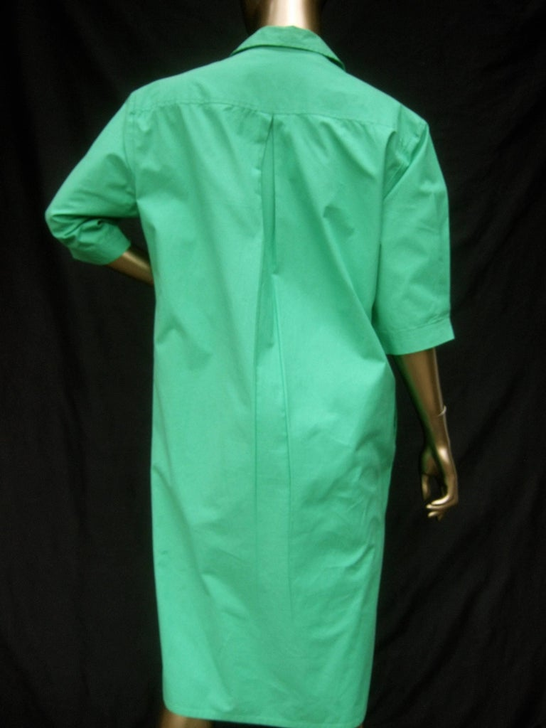 Gucci Italy Green Cotton Shirt Dress circa 1970s  For Sale 6