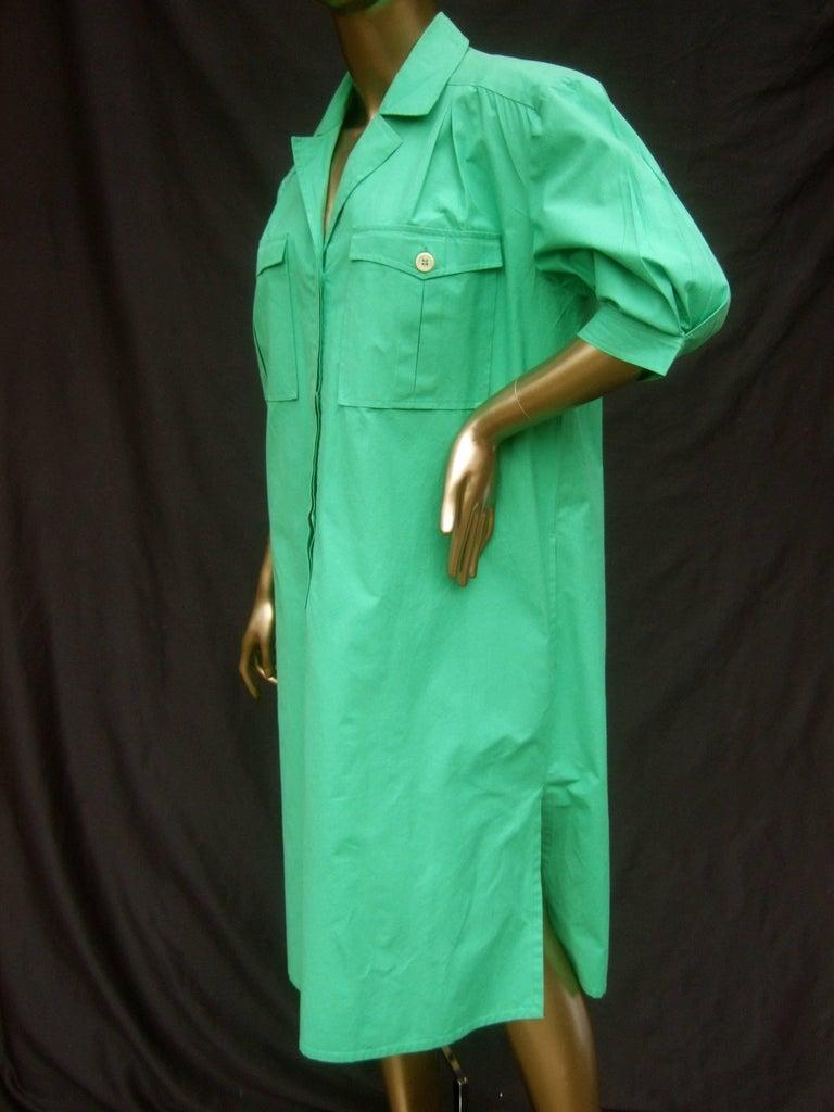Gucci Italy Green Cotton Shirt Dress circa 1970s  In Good Condition For Sale In Santa Barbara, CA