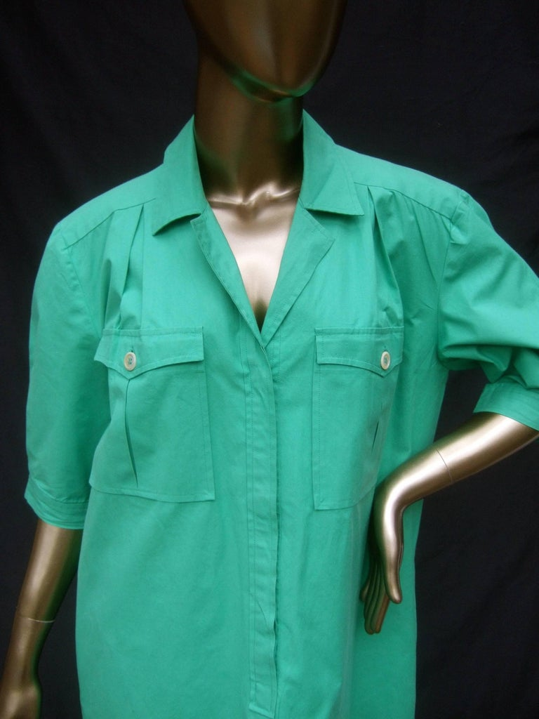 Women's Gucci Italy Green Cotton Shirt Dress circa 1970s  For Sale