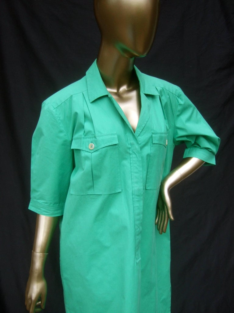 Gucci Italy Green Cotton Shirt Dress circa 1970s  For Sale 1