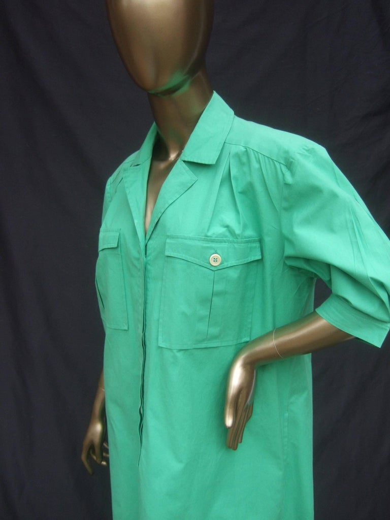 Gucci Italy Green Cotton Shirt Dress circa 1970s  For Sale 3