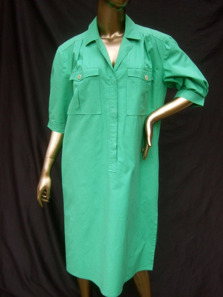 Gucci Italy Green Cotton Shirt Dress circa 1970s  For Sale 4
