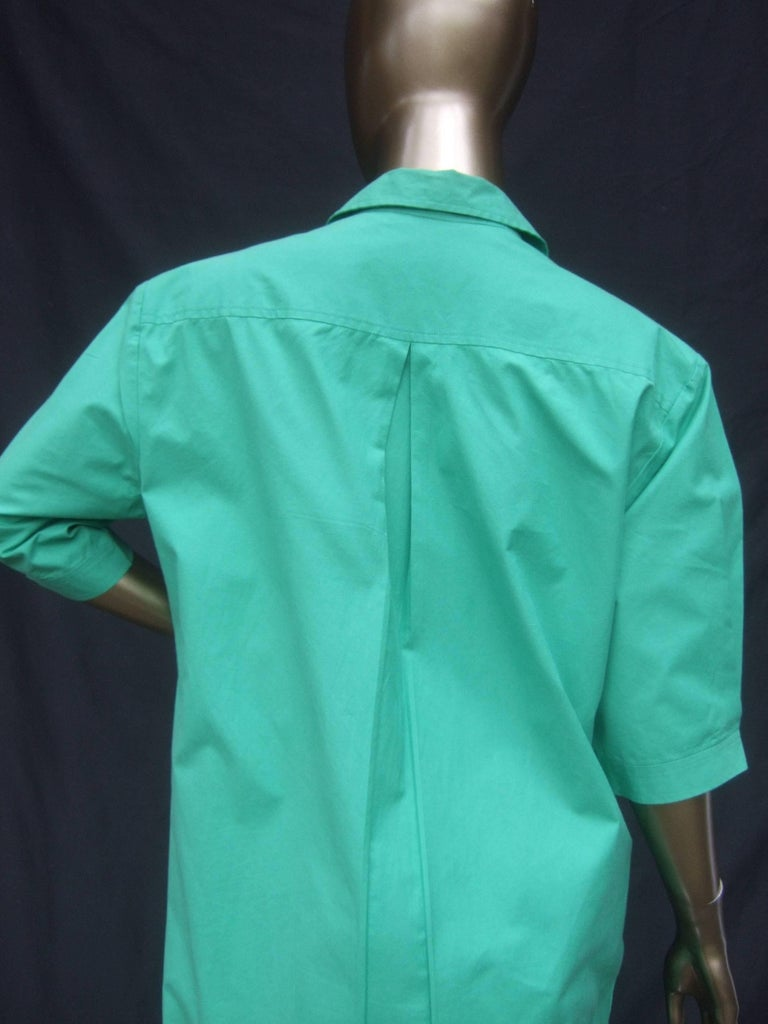 Gucci Italy Green Cotton Shirt Dress circa 1970s  For Sale 5