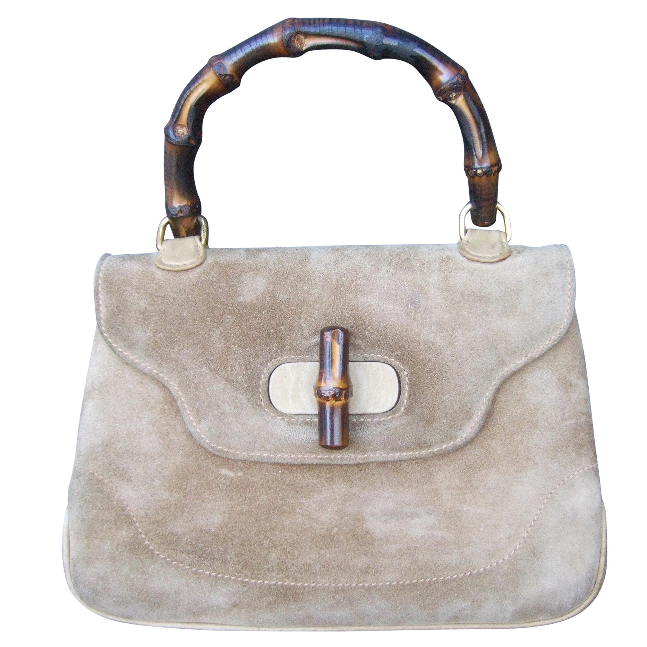 Gucci Italy Mocha Brown Suede Bamboo Handle Handbag c 1970s