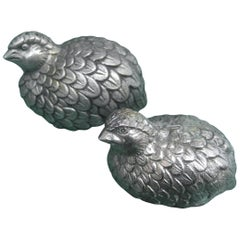 Gucci Italy Pair of Silver Metal Salt & Pepper Shakers c 1970s
