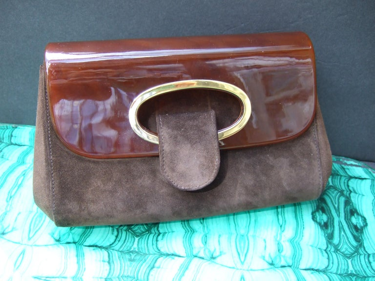 Gucci Italy Rare Amber Lucite Brown Suede Clutch c 1970s  For Sale 8
