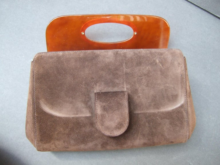 Gucci Italy Rare Amber Lucite Brown Suede Clutch c 1970s  For Sale 9
