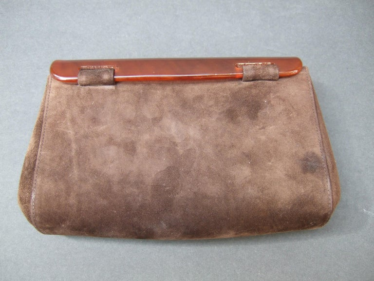 Gucci Italy Rare Amber Lucite Brown Suede Clutch c 1970s  For Sale 10