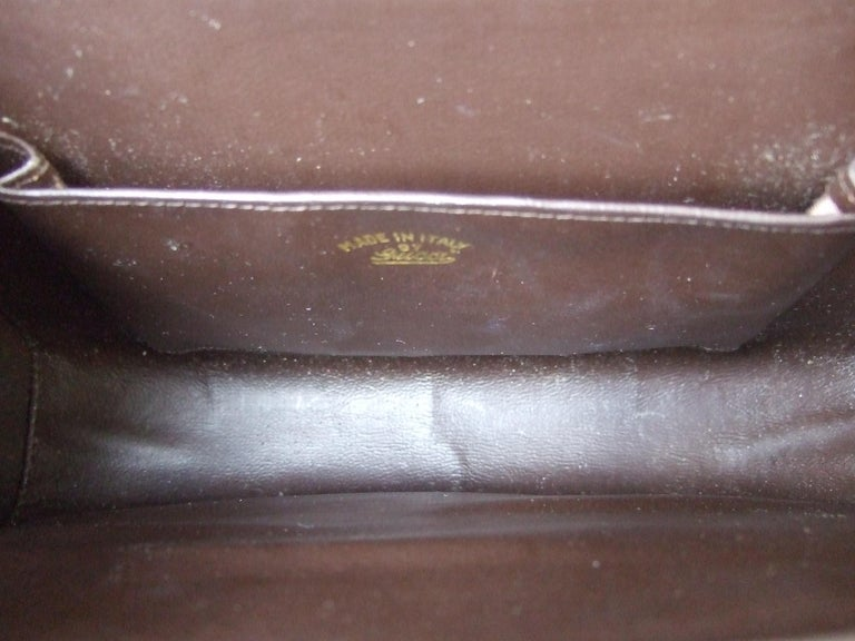 Gucci Italy Rare Amber Lucite Brown Suede Clutch c 1970s  For Sale 11