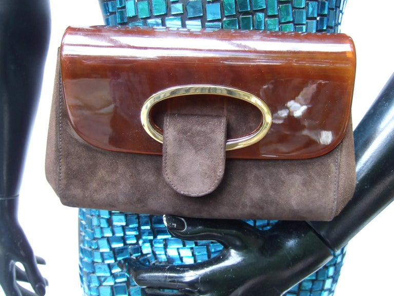 Gucci Italy Rare Amber Lucite Brown Suede Clutch c 1970s  In Good Condition For Sale In University City, MO