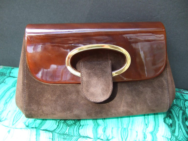 Gucci Italy Rare Amber Lucite Brown Suede Clutch c 1970s  For Sale 1