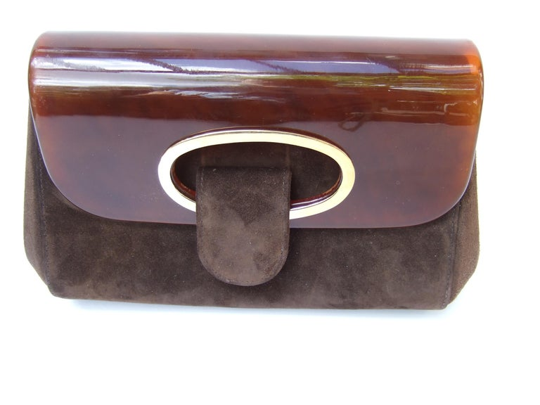 Gucci Italy Rare Amber Lucite Brown Suede Clutch c 1970s  For Sale 2