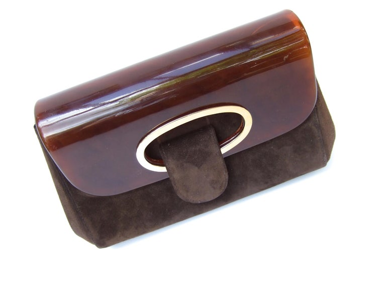 Gucci Italy Rare Amber Lucite Brown Suede Clutch c 1970s  For Sale 3