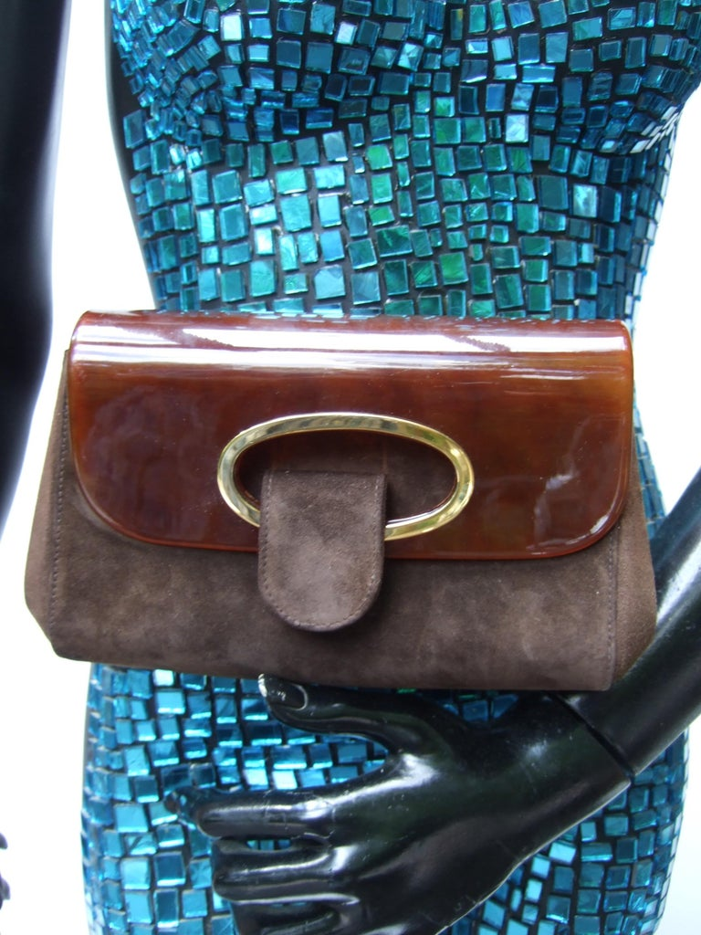 Gucci Italy Rare Amber Lucite Brown Suede Clutch c 1970s  For Sale 4