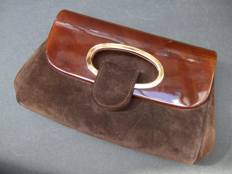 Gucci Italy Rare Amber Lucite Brown Suede Clutch c 1970s  For Sale 5