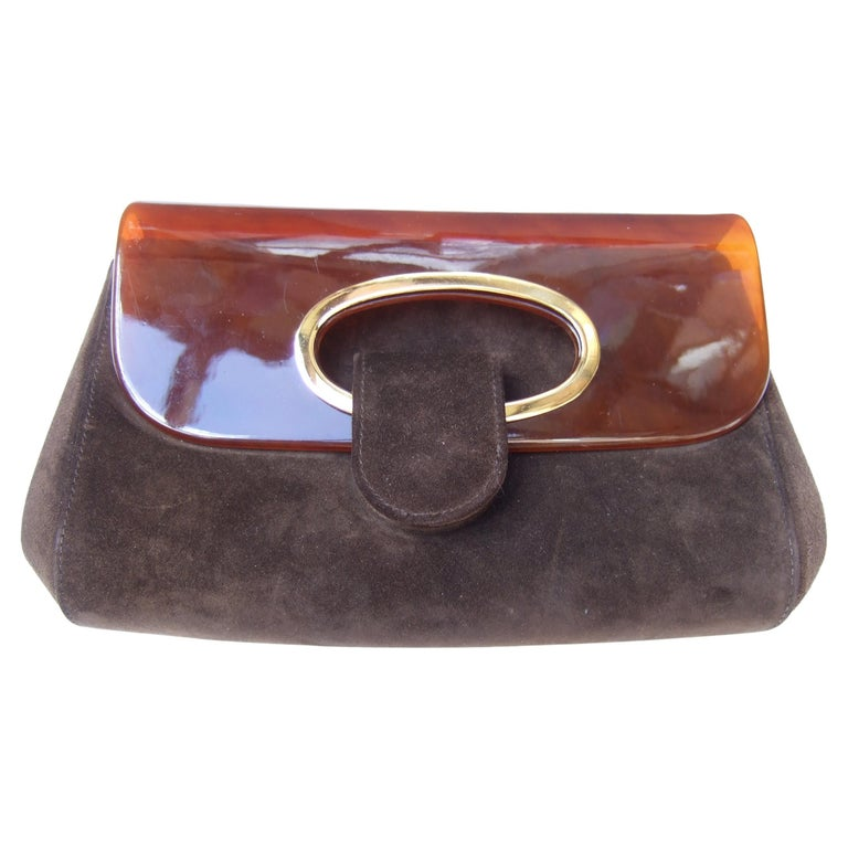 Gucci Italy Rare Amber Lucite Brown Suede Clutch c 1970s  For Sale