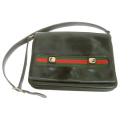 Gucci Italy Rare Black Leather Webbed Striped Shoulder Bag c 1980s