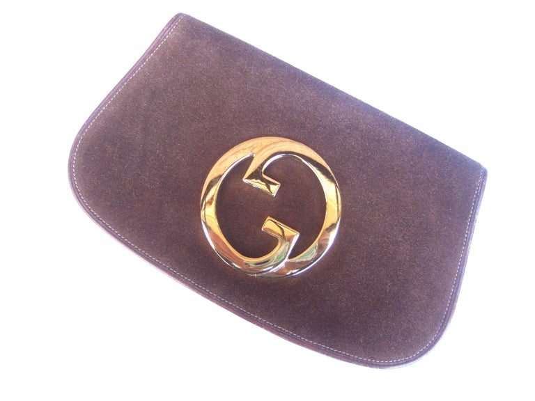 Gucci Italy Rare Brown Suede Blondie Clutch c 1970s  For Sale 5