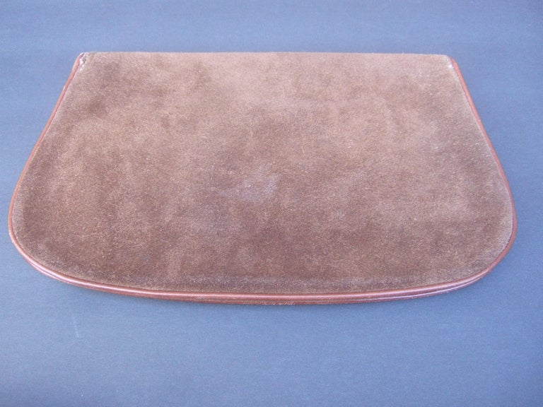 Gucci Italy Rare Brown Suede Blondie Clutch c 1970s  For Sale 6