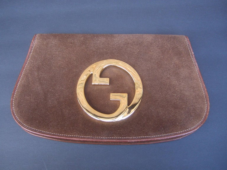 Gucci Italy Rare Brown Suede Blondie Clutch c 1970s  For Sale 8