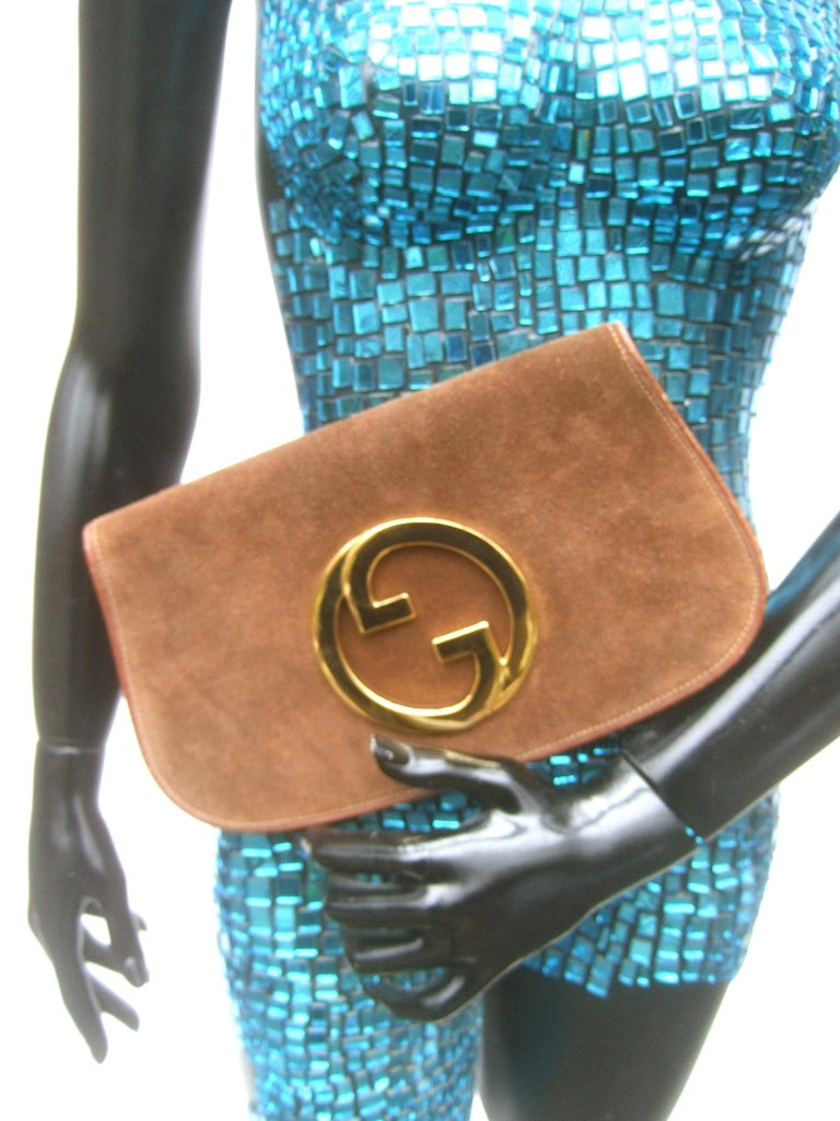 Women's Gucci Italy Rare Brown Suede Blondie Clutch c 1970s  For Sale