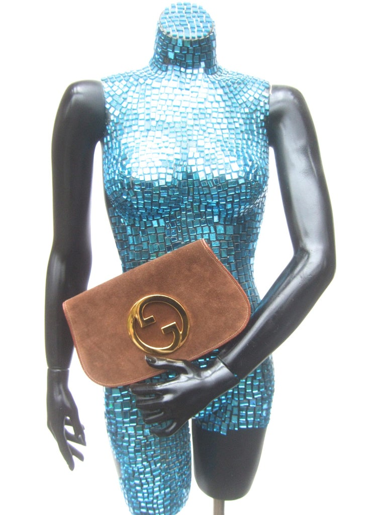 Gucci Italy Rare Brown Suede Blondie Clutch c 1970s  For Sale 1