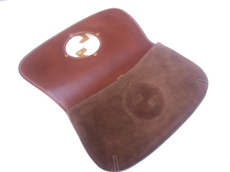 Gucci Italy Rare Brown Suede Blondie Clutch c 1970s  For Sale 3