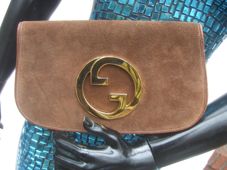 Gucci Italy Rare Brown Suede Blondie Clutch c 1970s  For Sale 4
