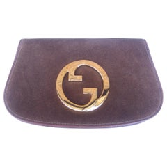 Gucci Italy Rare Brown Suede Blondie Clutch c 1970s