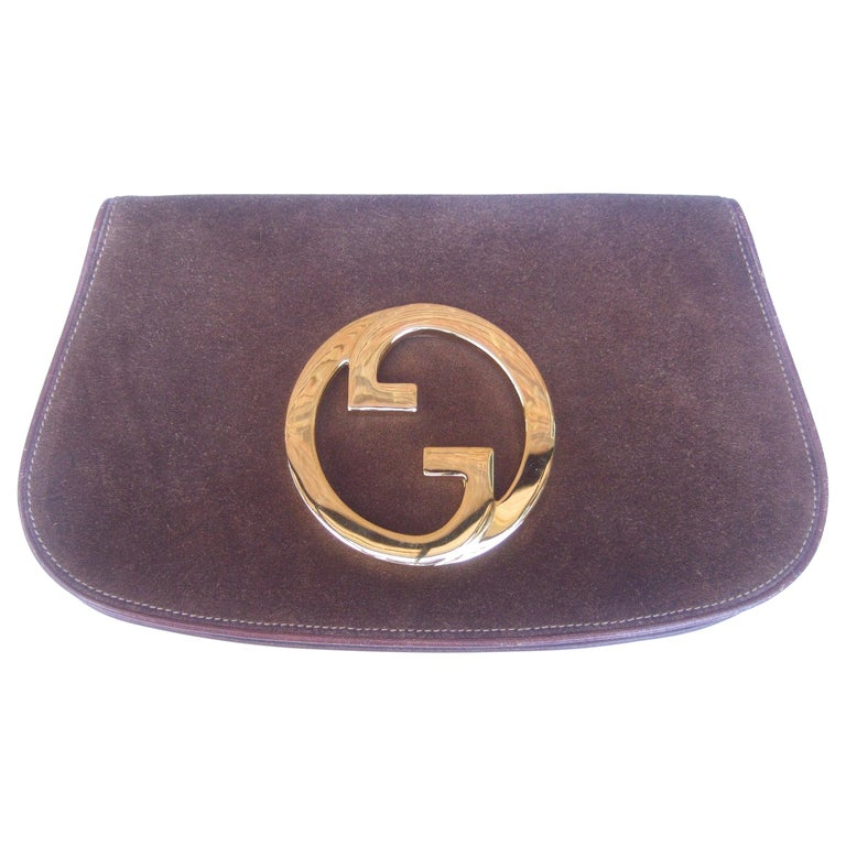 Gucci Italy Rare Brown Suede Blondie Clutch c 1970s  For Sale