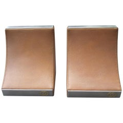 Gucci Italy Rare Caramel Brown Leather Pair of Bookends c 1970s