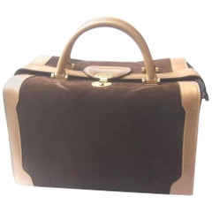 Gucci Italy Rare Chocolate Brown Suede Leather Trim Train Case c 1970s