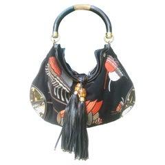 Gucci Italy Rare Embroidered Black Wool Large Handbag - Shoulder Bag c 1990s