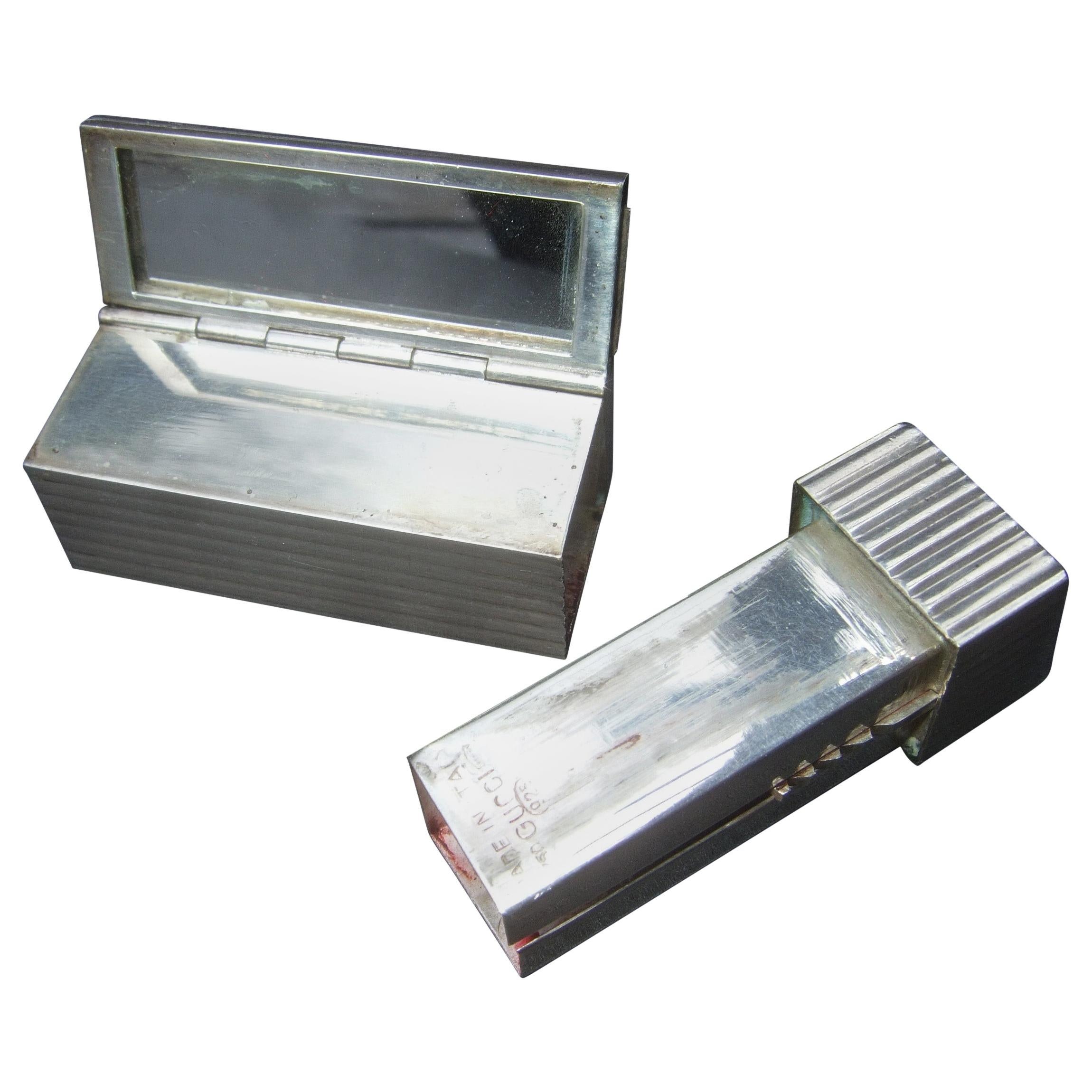 Gucci Italy Rare Sterling Silver Sleek Lipstick Vanity Mirror Case c 1970s