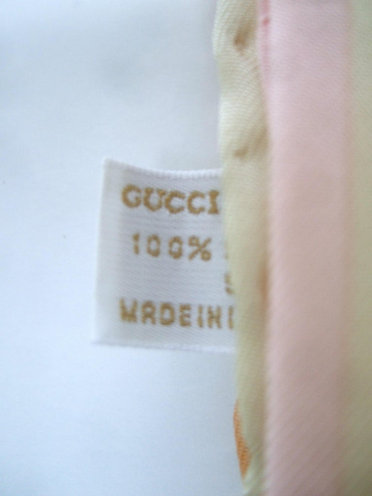 Gucci Italy Silk Hand Rolled Graphic Print Scarf c 1990s  33.5 x 34 in For Sale 9