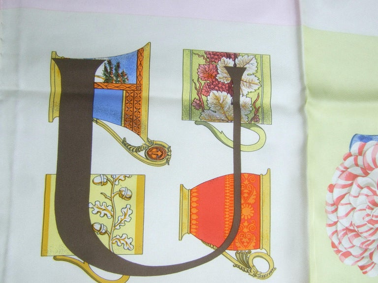 Gucci Italy Silk Hand Rolled Graphic Print Scarf c 1990s  33.5 x 34 in For Sale 3