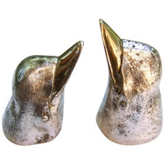 Gucci Italy Silver & Gilt Metal Penguin Salt & Pepper Shakers c 1970s