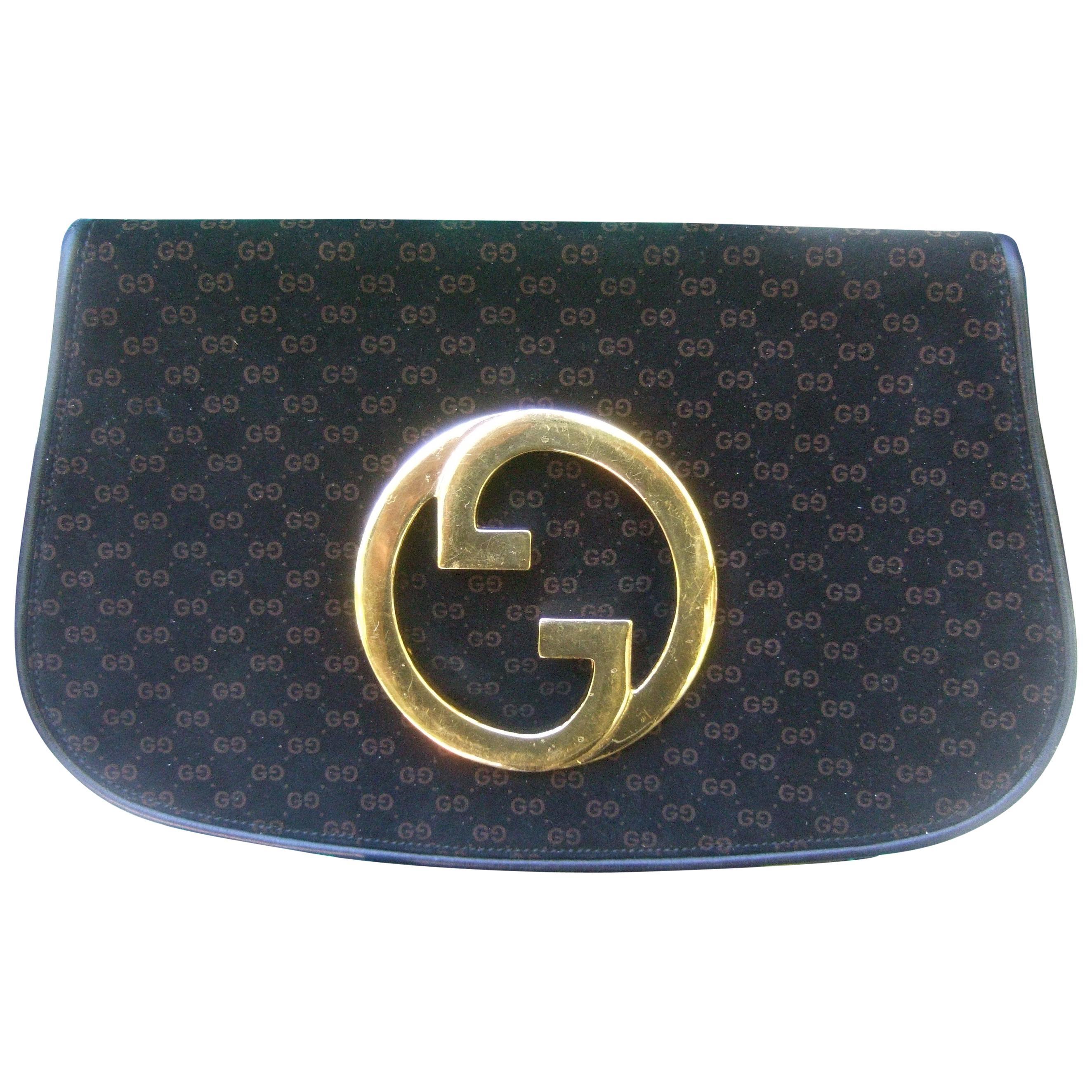 Gucci Italy Sleek Black & Brown Suede Blondie Clutch c 1970s