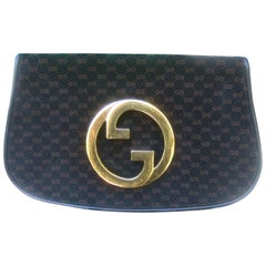 Gucci Italy Sleek Black & Brown Suede Blondie Clutch c 1970s