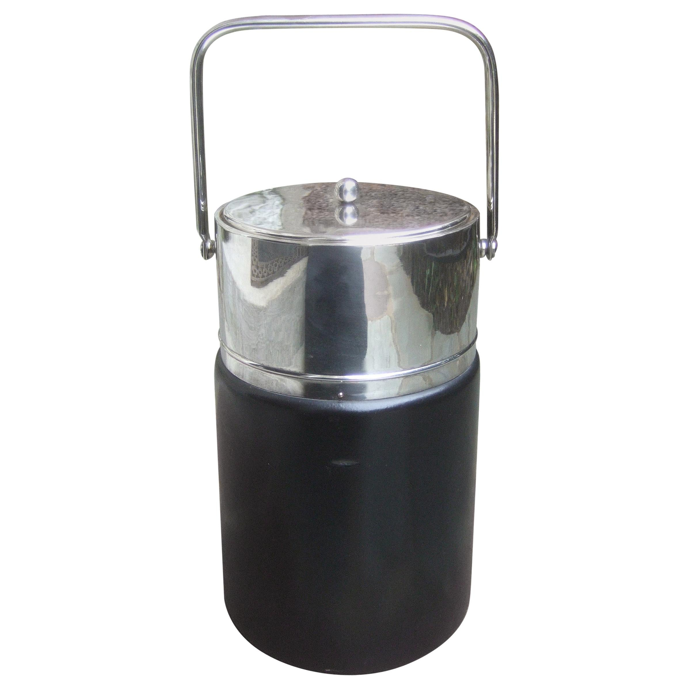 Gucci Italy Sleek Chrome Black Leather Ice Bucket c 1970s
