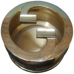 Gucci Italy Sleek Rare Gilt Metal G.G. Initial Coated Canvas Ashtray c 1970s