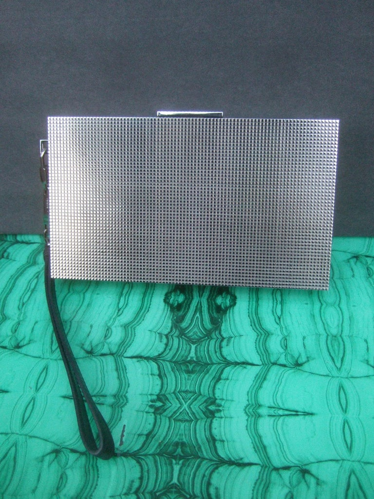 Gucci Italy Sleek Silver Metal Minaudière Wristlet Clutch Tom Ford Era c 1990s For Sale 6