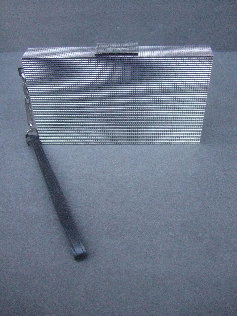 Gucci Italy Sleek Silver Metal Minaudière Wristlet Clutch Tom Ford Era c 1990s For Sale 7